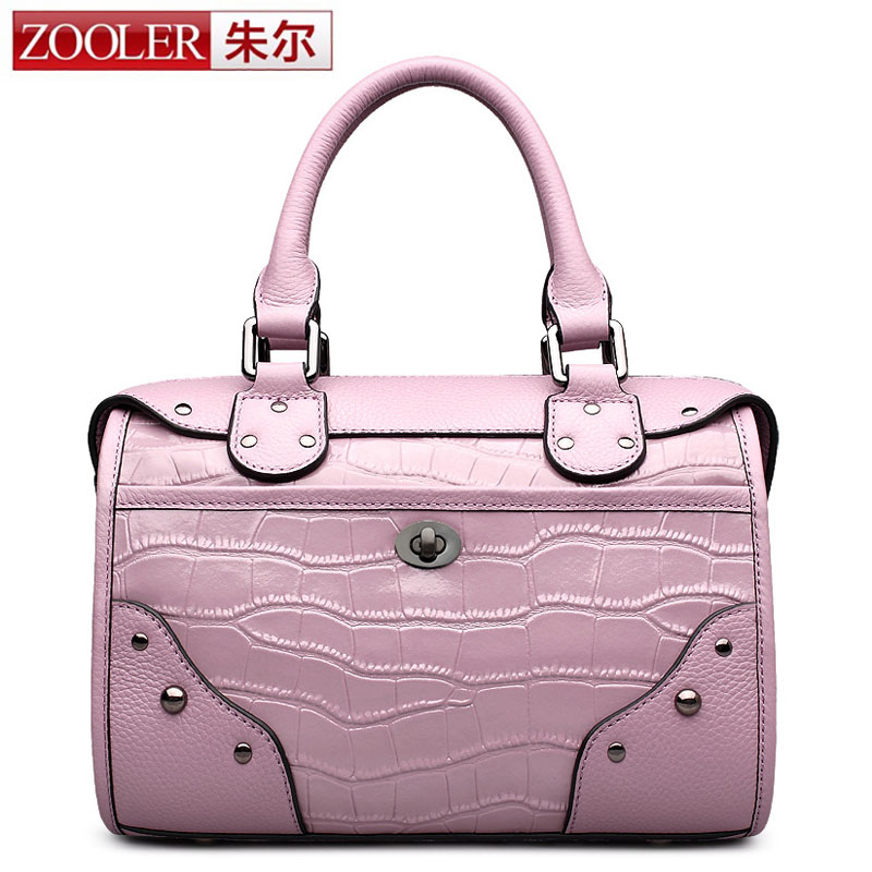 ZOOLER Rivet Women Shoulder Bags Cow Genuine Leather Boston Women Totes Handbags Luxury Brand Fashion Small Ladies Crossbody Bag zooler 2017 new arrival genuine leather handbags woman design top quality crossbody bag luxury brand red ladies bags hs 3211
