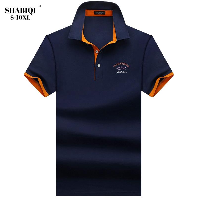 Plus Size S-10XL Polos Mens embroidery POLO Shirts Cotton Short Sleeve Camisas Polo Casual lapel Collar Male Polo Shirt 5XL
