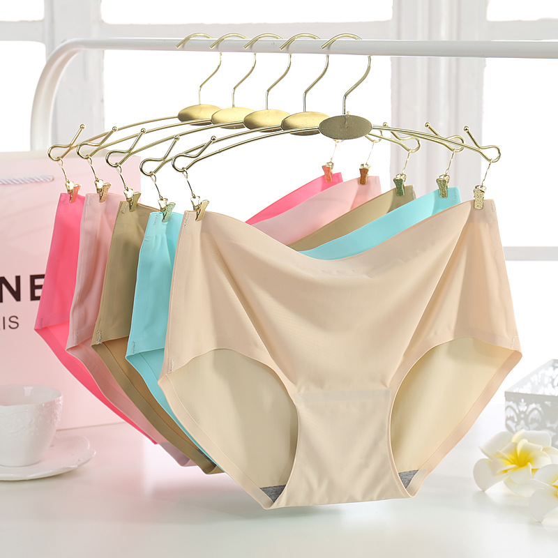 Womens Sexy Mid-Rise   Panties   Women Boxers Comfortable Hips Underpants One Piece Design Ice Silk Soft Boxers For Female Large