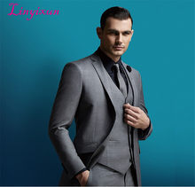 Linyixun 2018 2017 Men Business Suit Slim fit Classic Male Suits Blazers Luxury Suit Men Two Buttons 3 Pieces(Jacket+Pants+Vest)(China)