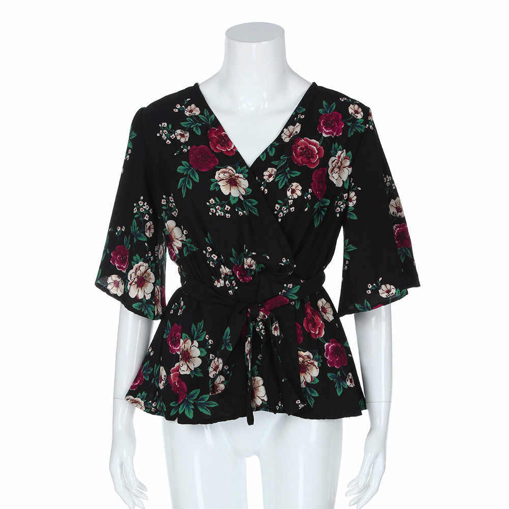 9ce4c90276b ... Women s Blouse Plus Size Sexy V-Neck Floral Print Flare Sleeve Belted  Surplice Peplum Tops ...