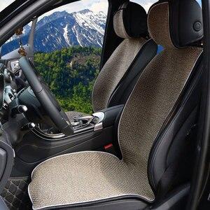 Image 5 - מלאכותי פשתן אוטומטי מושב כרית fit ביותר מכוניות משאית Suv או ואן/2 מושב קדמי חתיכה כיסוי או 1 סט חזרה מושב מכסה מחצלת