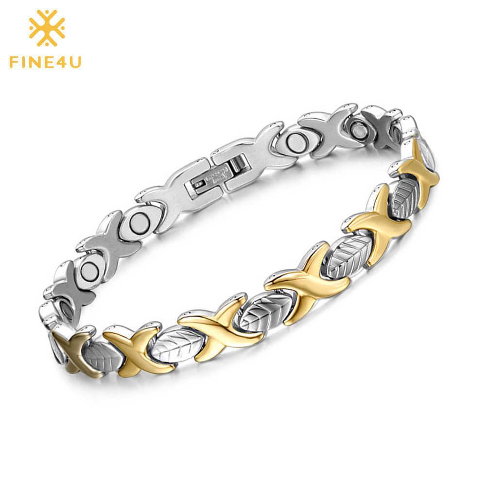FINE4U B077 Rantai Tangan Desain Daun Magnetic Kesehatan Gelang & Gelang 316L Stainless Steel Energi Sehat Gelang untuk Wanita