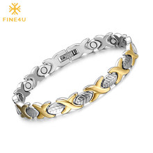 FINE4U B077 Hand Chain Leaf Design Magnetic Health Bracelets & Bangles 316L Stainless Steel Energy Healthy Bracelet For Women(China)