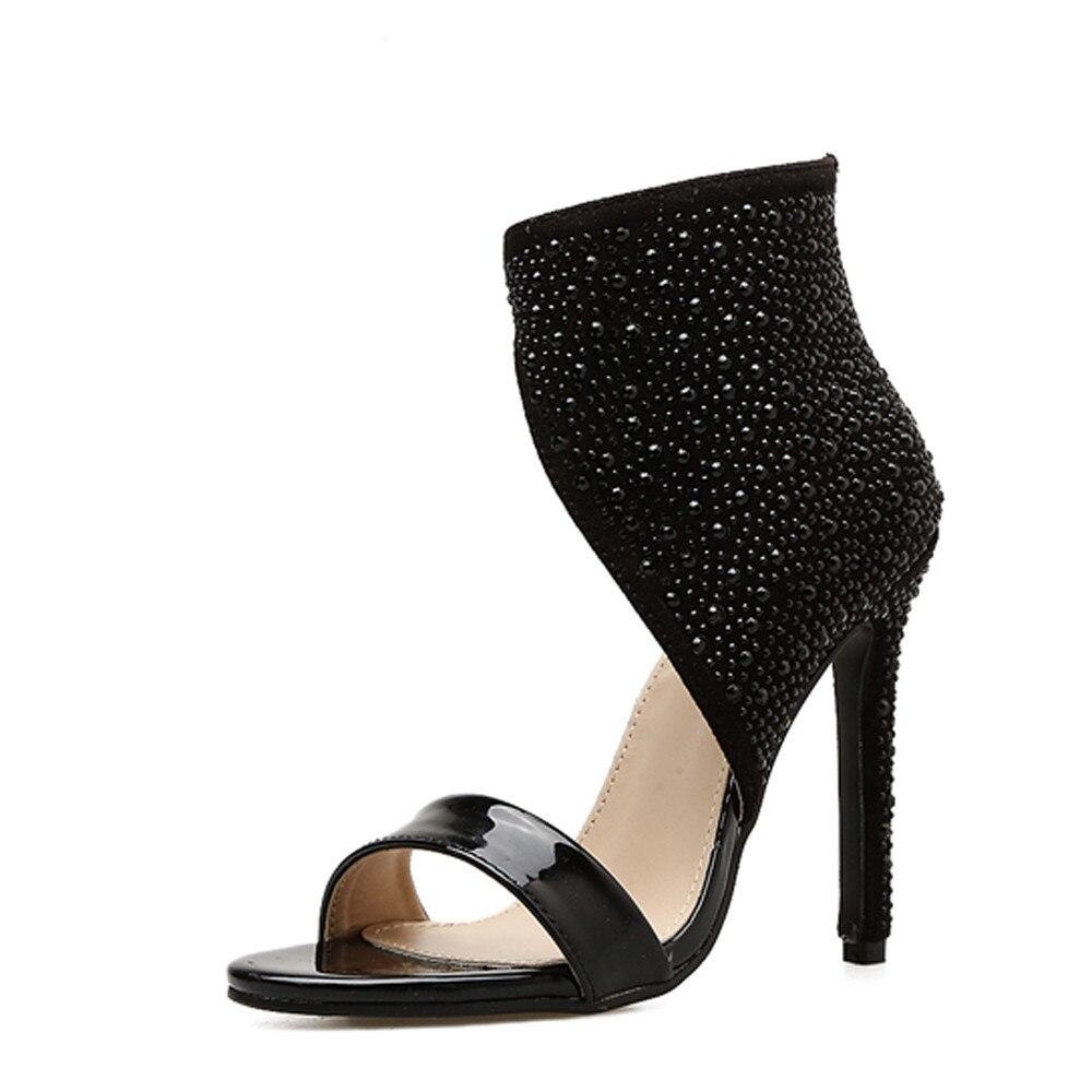 Open Toe Rhinestone Design High Heel Sandals Crystal New Short Boots Sexy Diamond Gladiator Women Sandals Black Size 35-40