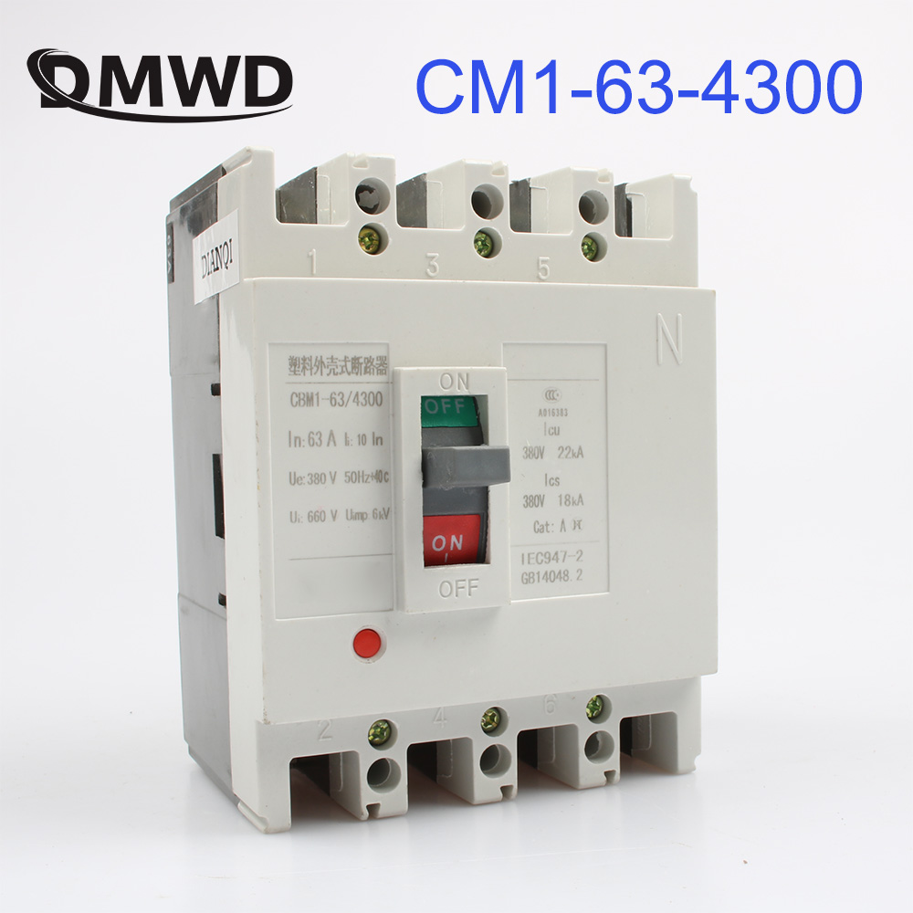 CM1-63/4300 MCCB 16A 20A 25A 32A 40A 50A 63A molded case circuit breaker CM1-63 Moulded Case Circuit Breaker idpna vigi dpnl rcbo 6a 32a 25a 20a 16a 10a 18mm 230v 30ma residual current circuit breaker leakage protection mcb a9d91620