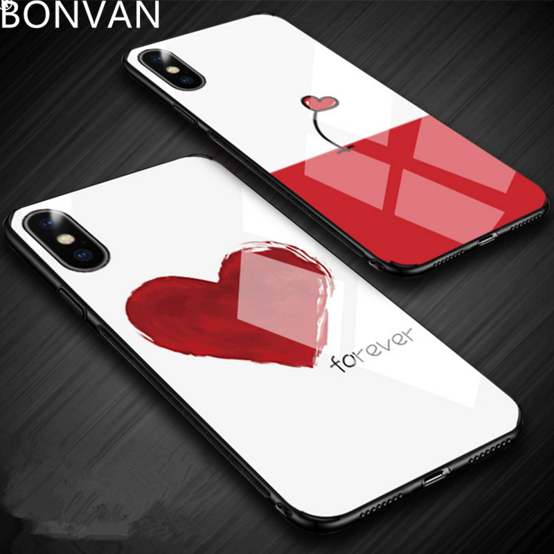 BONVAN for iPhone X Glass Case for iPhone 8 Plus 7 7plus 8Plus Love Heart 6sPlus Tempered Glass Cover for iphone 6 6s Plus Case