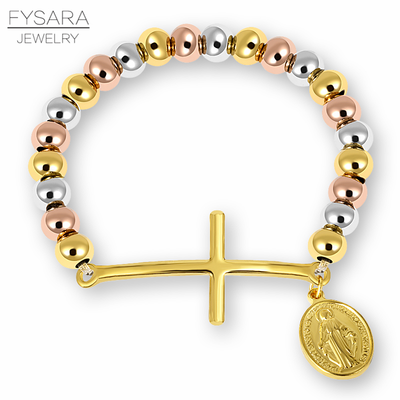 FYSARA Stainless Steel Beaded Bracelets For Women Men Religion Virgin Mary Rosary Cross Stretch Strand Bracelets Couple Jewelry
