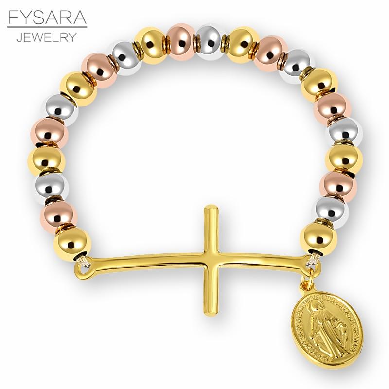 Fysara المقاوم للصدأ مطرز أساور للنساء الرجال الدين مريم العذراء الوردية الصليب تمتد ستراند أساور زوجين المجوهرات
