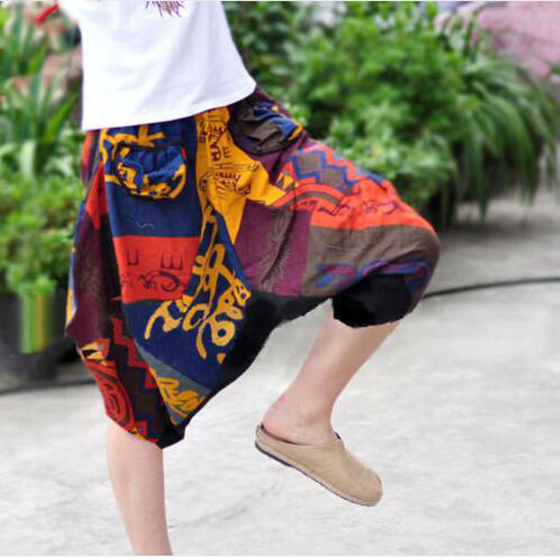 Men Gypsy Summer Aladdin Baggy Harem Pants Women Capri Trousers Cotton Linen
