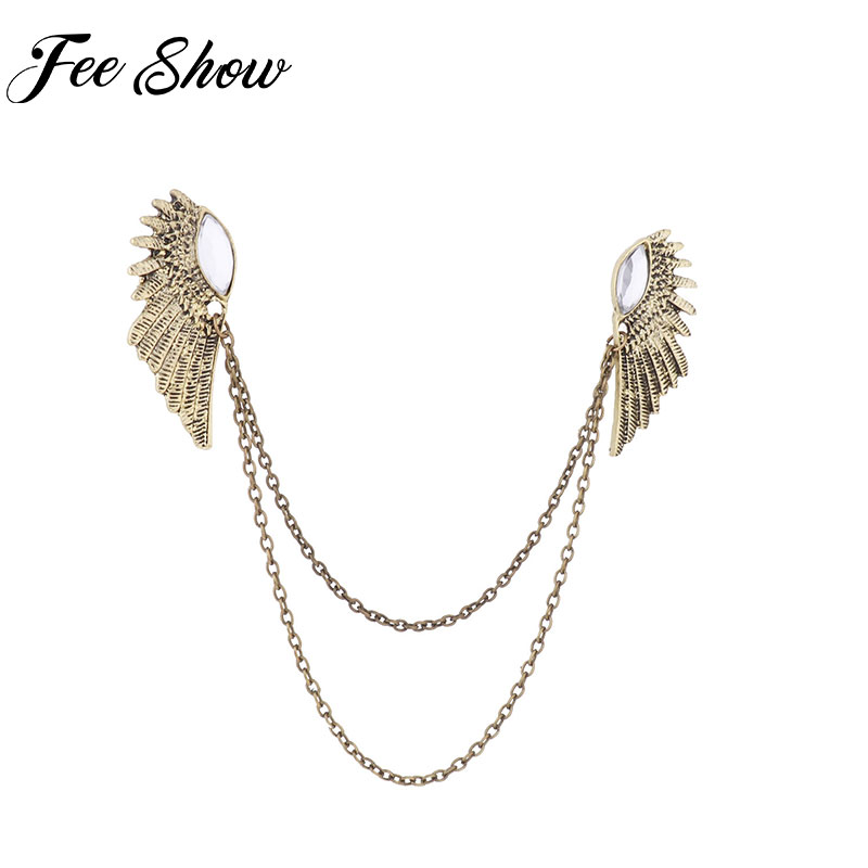 Men Fashion Angel Wings Pin Brooches Corsages Lapel Pin Sweater Shawl Clips Clothes Buckles Cardigan Collar Clip Holder