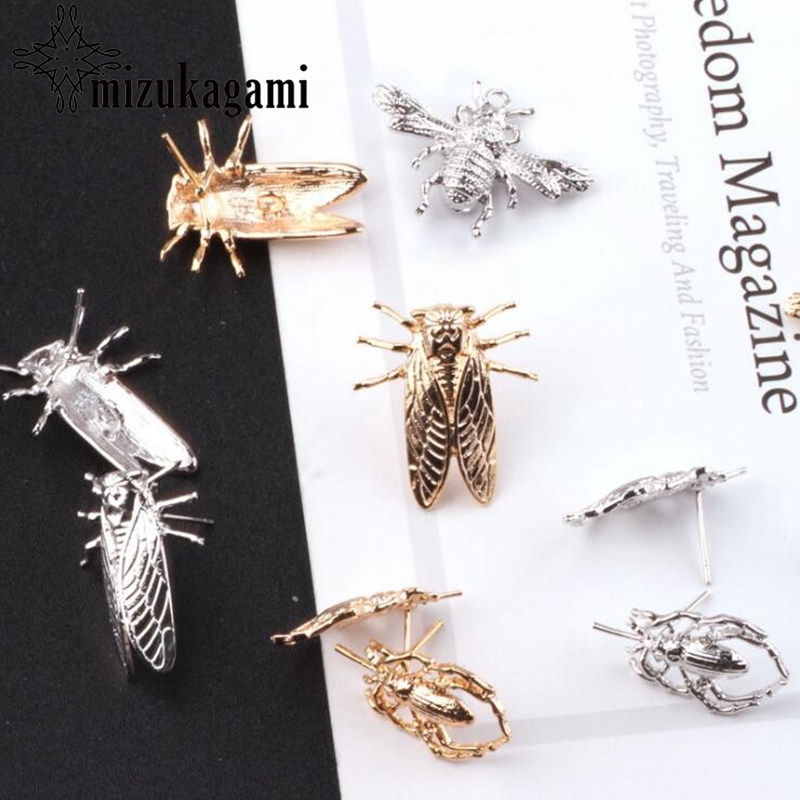 High Quality 10pcs/lot Real Golden Plating Insect Charms DIY For Drop Earrings Jewelry Making Accessories