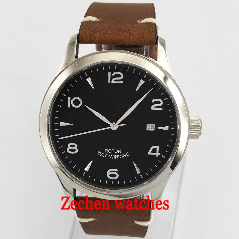 42mm corgeut black dial blue mark Sapphire Glass miyota 8215 Automatic mens watch 42mm parnis withe dial sapphire glass miyota 9100 automatic mens watch 666b