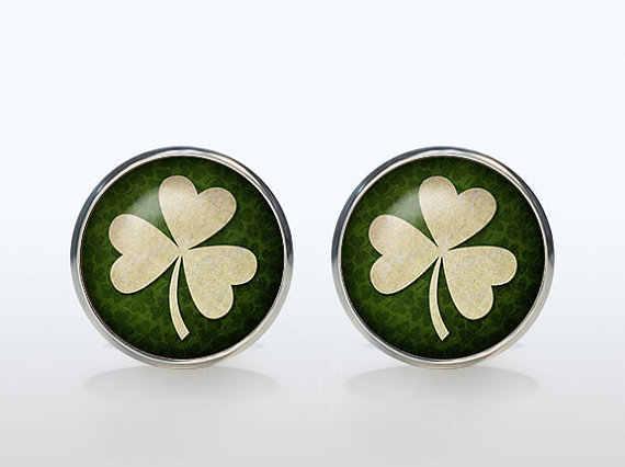Irish Luck Mans Groom Wedding Cuff  Four Leaf Clover Vintage Sleeve Button Shirt Cufflinks Brand Silver Glass Dome Gift
