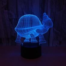 Модель черепахи Иллюзия 3d лампа светодиодный 7 цветов Изменение животных 3d Визуальный светодиодный ночник для детей игрушка подарок настольная лампа
