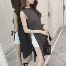 New women clothes 2019 Spring and summer new style Fashion high slit dress Loose mid-length without sleeve