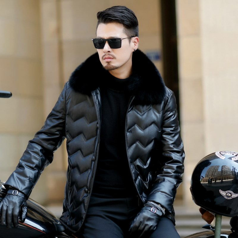 HTB11E2RXjnuK1RkSmFPq6AuzFXad Jaqueta Couro Sale Men Engine Leather Parka Winter Down Jacket 2018 New Middle-aged Sheep Coats Large Size Outerwear Male No520