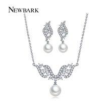 NEWBARK Simulated Pearl Bridal Sets Elegant Jewelry Wing Shape Wedding Necklace Earrings Pave Cubic Zircon Rhinestone