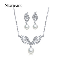 NEWBARK Simulated Pearl Jewelry Sets CZ Diamond White Gold Plated Earrings And Angel Necklace Set For