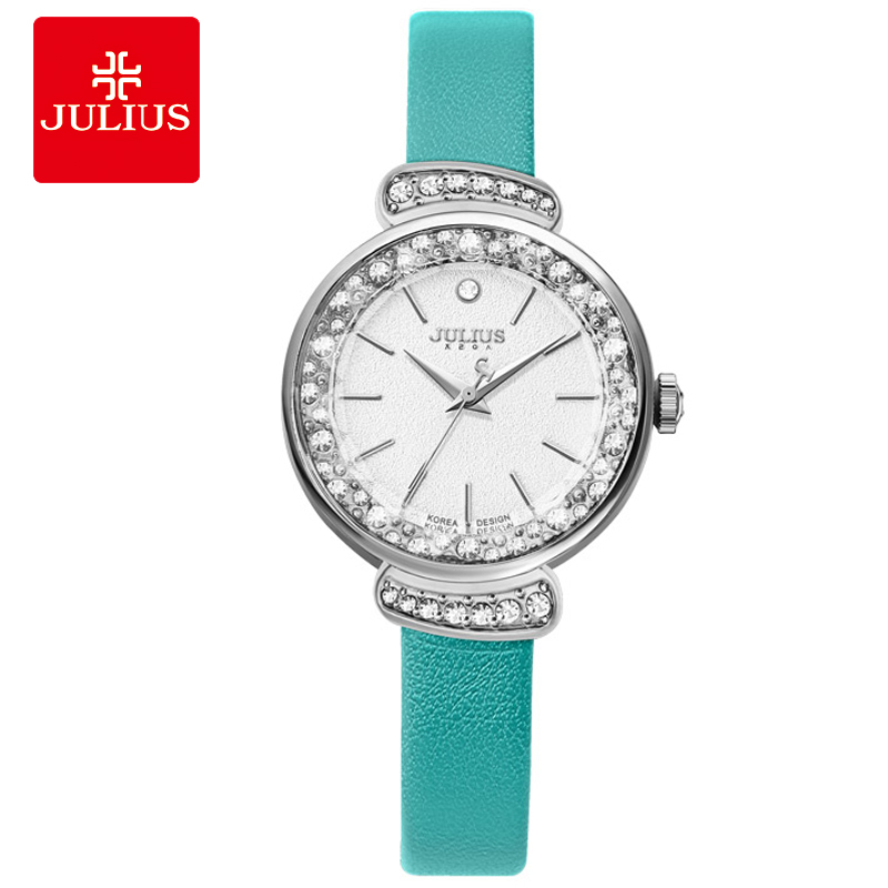 JULIUS Women's Fashion Dress Watch Rhinestone Watches Mint Green Pink Leather Strap Slim Watch for Small Wrist Relogio C1 цены