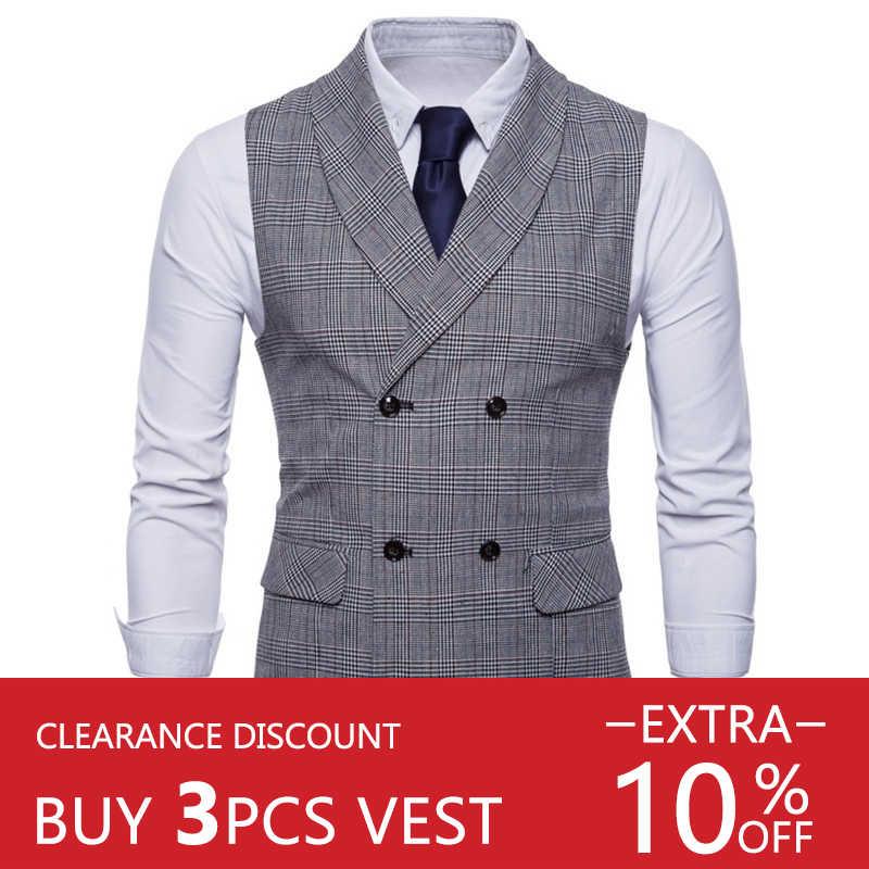 Riinr 2019 Chaleco de marca para hombre chaqueta sin mangas Beige gris marrón Vintage Tweed chaleco moda Primavera otoño talla grande