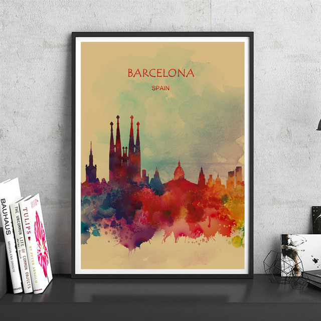 Hot sale colorful poster barcelona wall stickers art print picture kraft paper for home living room