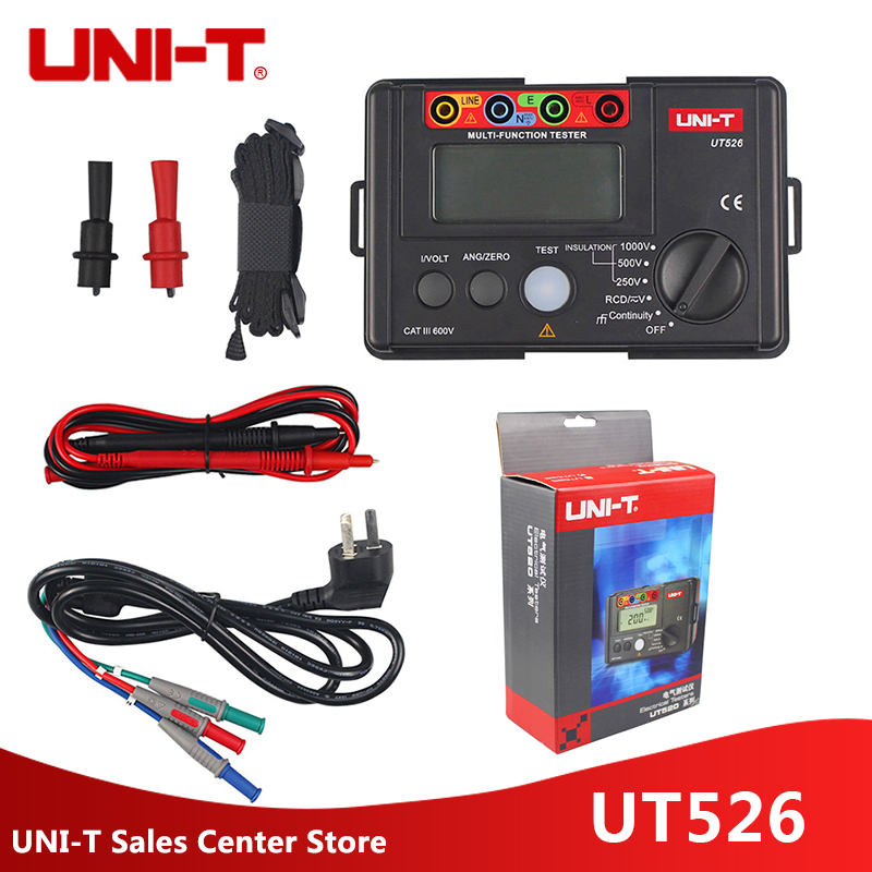 UNI-T UT526 Multi-function digital electric meter Electrical Insulation Tester UT526 Earth Resistance Meter+RCD Test Machine uni t ut595 electrical integrated tester digital multifunction electrical safety integrated test instrument