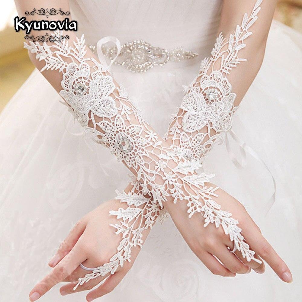 Kyunovia White Short Glovrs Fingerless Length Elbow Bridal Lace