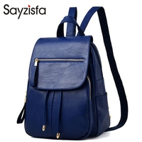 Sayzisfa 2017 New arrived Women Backpack Leather color blue Bagpack Ladies Solid Bags Retro Backpacks Girls Fashion Mochila T328