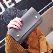 Free Shipping New Arrival Black Red  Gray Brown Woman Leather Large Long Wallet Card Holder Clutch PU Purse