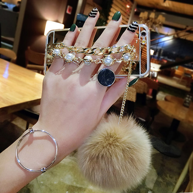 LOVECOM Newest Luxury Bling Pearl Chain Fur Ball Pom Pom Mirror Phone Case For Iphone 6 6S Plus 7 Plus Soft TPU Back Cover
