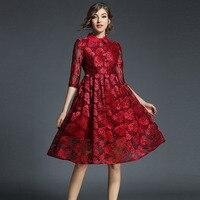 2017 סתיו נשים שמלות נקבה אונליין תחרה פרחונית אלגנטית צווארון פיטר פן נצנצים שמלות ערב קצר שמלת משרד ליידי