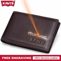 KAVIS Brand Cow Genuine Leather Credit Card Holder 14 Card Slot Men Male Business Purse ID