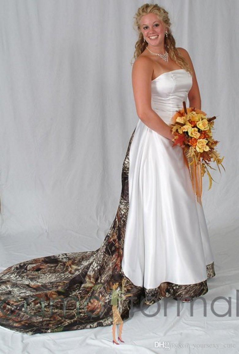 Y Camo Wedding Strapless Satin Ruffles Plus Size Veatido De Novia Lace Up Back Chapel