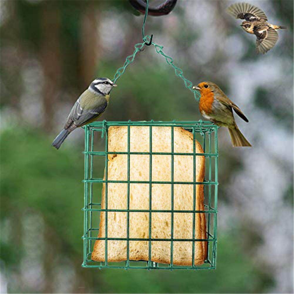 Outdoor Bird Feeder Green Square Iron Bread Block Birds Feeder Wild Hanging Food Device Suet Feeding Tools Bird Supplies