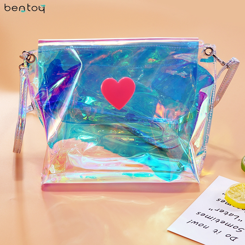 Bentoy Brand Women Bags Designer Fashion Summer Hologram Shoulder Bag Clutch Crossbody Bag Envelope Chain Laser