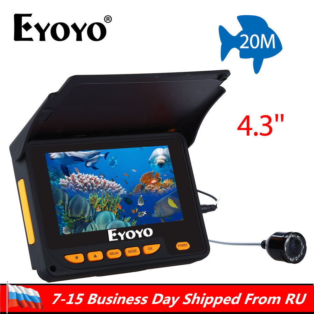 Ship From Russian! Eyoyo 20M HD 1000TVL Underwater Ice Fishing Camera Video Fish Finder 4.3 LCD 8pcs IR LED 140 Degrees Angle eyoyo 20m hd 1000tvl underwater ice fishing camera video fish finder 4 3 lcd 8pcs ir led 150 degrees angle