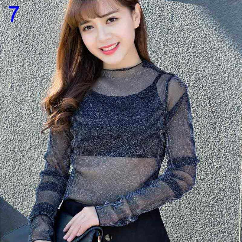 0a225107aa 22 Styles Sexy Mesh Women Blouse See Through Transparent Mesh Long Sleeve  Sheer Blouses Shirt Tops