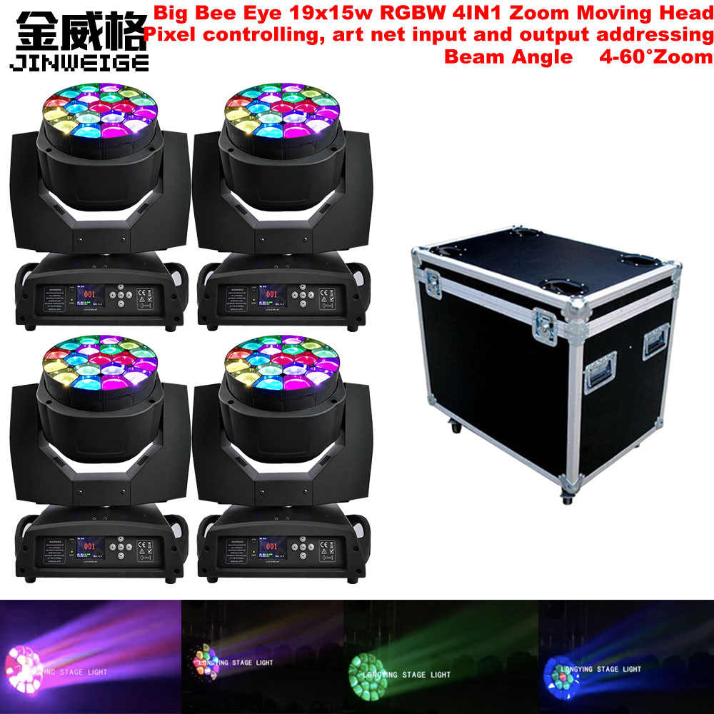 Free Shipping 4pcs/Lot With Flightcase Big Bee Eye Lyre Led Beam 19x15w RGBW 4in1 ZOOM LED Moving Head Lights For DJ Bar