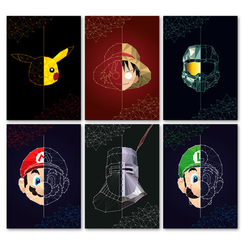 Geometry Pokemon One Piece Super Mario Bros Wall Art Canvas Painting Nordic Posters And Prints Wall Pictures For Kids Room Decor action figure pokemon