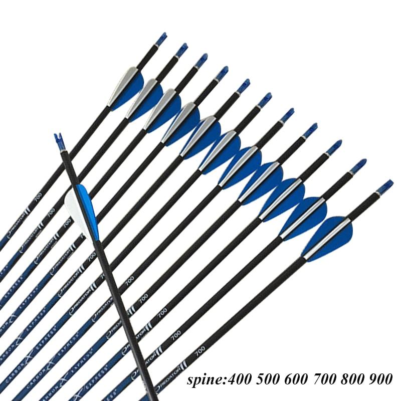 Archery 12pcs CE SP500 900 30 ID4 2 Carbon Arrows 1 75 Vanes Pin Nock 80gr