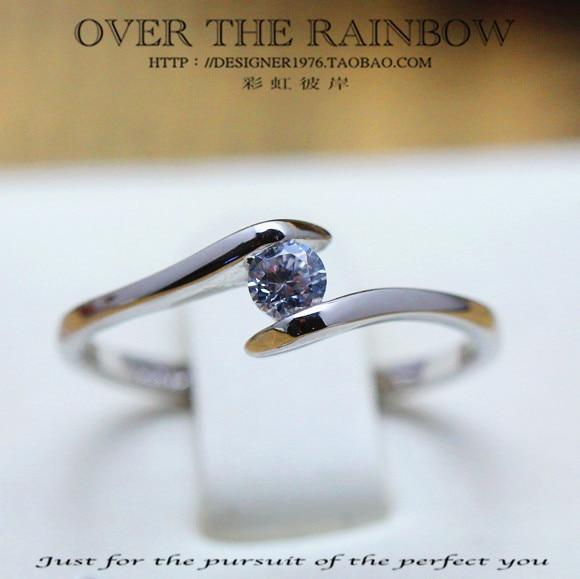 Accessories 25 women's high artificial diamond ring titanium alloy 3 platinum zircon