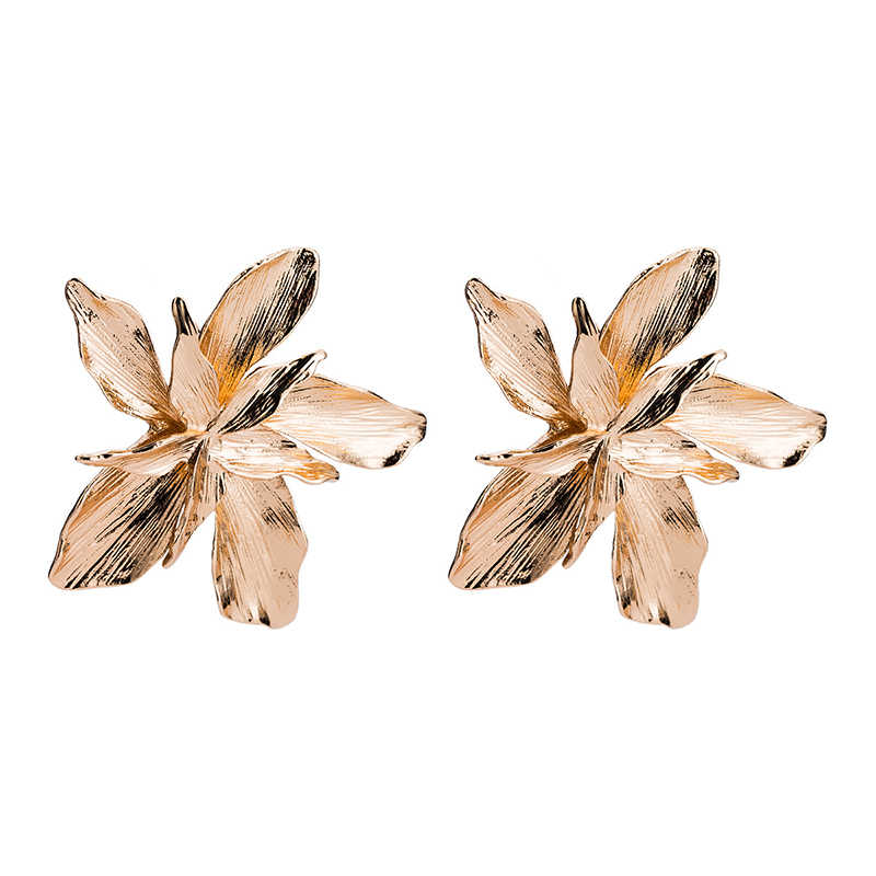 gold silver flower shape stud earrings big Multi-layer statement holiday metal star fashion jewelry for women