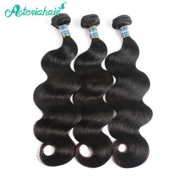 Asteria שיער ברזילאי גוף גל שיער טבעי לארוג 3 חבילות 10 כדי 18 20 22 24 26 28 30 inch טבעי שחור צבע רמי שיער Weave