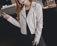 2018 Mode-straße Arrial Frauen s Herbst Winter PU Leder Grundlegende kurze Jacken Lady Matte Motorrad Mantel Biker Reißverschluss Outwear
