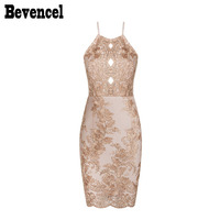 Bevencel 2017 Luxe Beads Floral Embroidery Strapy Summer Bandage Dresses Sleeveless Sexy Backless Mesh Patchwork Party
