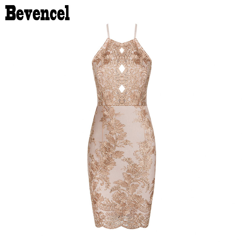 Bevenccel 2019 Luxe Beads Floral Embroidery Strapy Summer Bandage Dresses Sleeveless Sexy Backless Mesh Patchwork Party Dresses