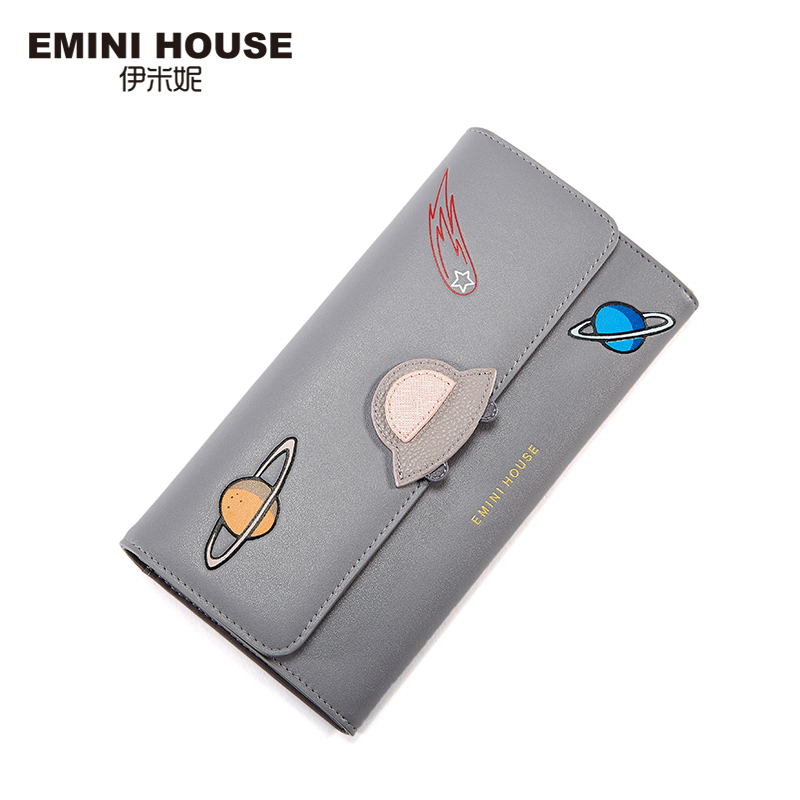 EMINI HOUSE Space Series Split Leather Women Wallet Long Wallets Card Holder Wallets Bifold Zipper & Hasp Wallet Coin Purse casual weaving design card holder handbag hasp wallet for women