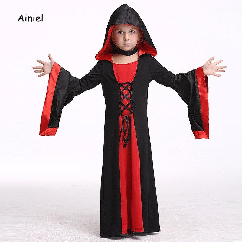 Ainiel Girls Vampire Costume Halloween Costumes Kids Cosplay Theater Bat Vampire Costume Little Girl