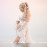 Le Couple Stretchy Lace Maternity Dresses Ruffles High Split Front Maternity Photography Gown Slash Neck Maxi